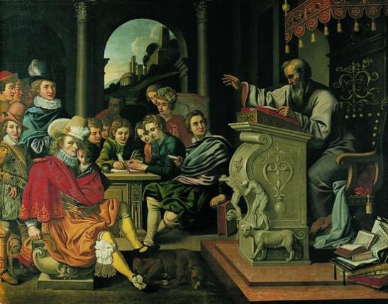Painting depicting a rhetorics lecture in a knight academy, painted by Pieter Isaacsz (1569-1625) or Reinhold Timm (d. 1639) for Rosenborg Castle, Copenhagen, Denmark.
